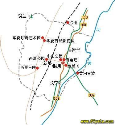 银川周边旅游景点地图