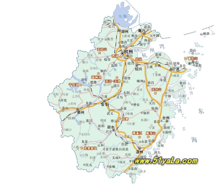 浙江旅游景区景点分布地图